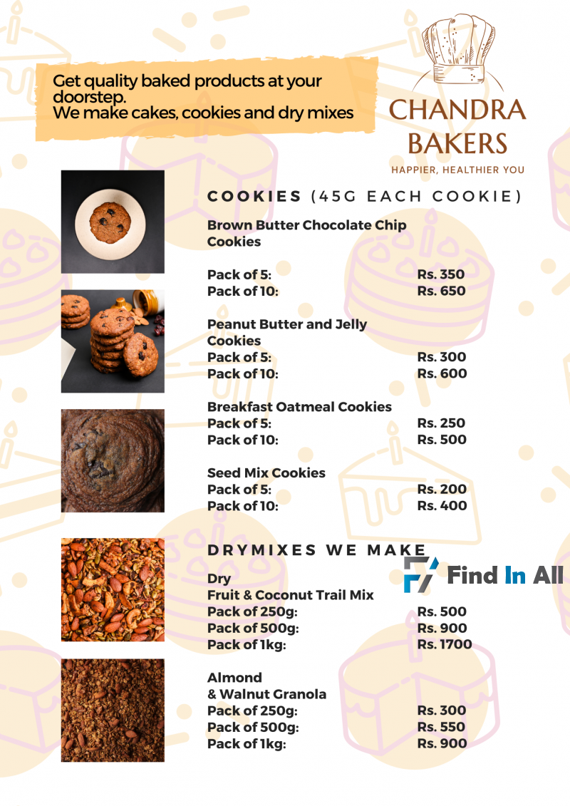 Get quality baked products at your doorstep. We make cakes, cookies and dry mixes.
