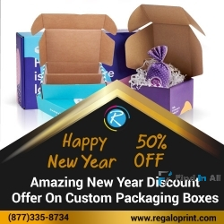Amazing 50% New Year Discount Offer On Custom Packaging Boxes