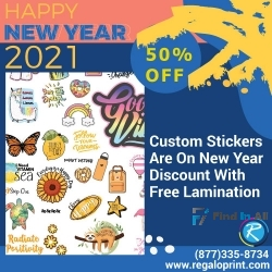 Custom Stickers Are On 50% New Year Discount With Free Lamination